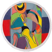 Jazzamatazz Saxophone Round Beach Towel by Angelo Thomas