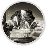 Jc Nichols Memorial Fountain Bw 1 Round Beach Towel