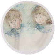 Jean-pierre Hoschede And Michel Monet Pastel Round Beach Towel