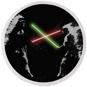 Jedi Duel Round Beach Towel by George Pedro