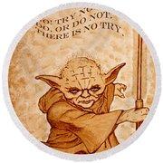 Round Beach Towel featuring the painting Jedi Yoda Wisdom by Georgeta  Blanaru