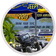 Round Beach Towel featuring the photograph Jeep Beach 2013 Welcomes All Jeepers by DigiArt Diaries by Vicky B Fuller