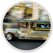 Jeepney Moving On The Road, Manila Round Beach Towel