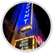 Round Beach Towel featuring the photograph Jeff Beck At The Paramount by Fiona Kennard
