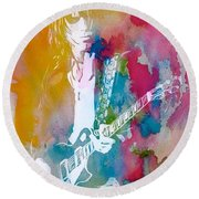 Jeff Beck Watercolor Round Beach Towel