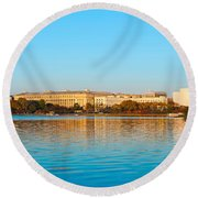 Jefferson Memorial And Washington Round Beach Towel by Panoramic Images