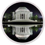 Jefferson Memorial - Night Reflection Round Beach Towel
