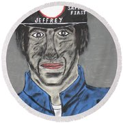 Round Beach Towel featuring the painting Jeffrey The Coal Miner by Jeffrey Koss