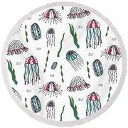 Jellyfish Repeat Print Round Beach Towel