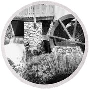 Jenney Mill In Black And White Round Beach Towel