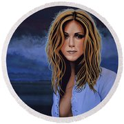 Jennifer Aniston Painting Round Beach Towel