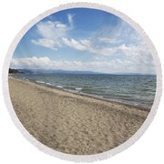 Yellowstone Lake Round Beach Towel by Belinda Greb