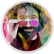 Jerry Garcia Art Round Beach Towel