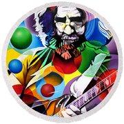 Jerry Garcia In Bubbles Round Beach Towel by Joshua Morton