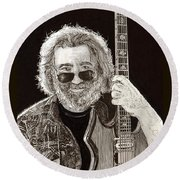 Jerry Garcia String Beard Gutaire Round Beach Towel by Jack Pumphrey