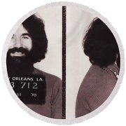 Jerry Garcia Mugshot Round Beach Towel