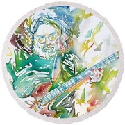Jerry Garcia Playing The Guitar Watercolor Portrait.1 Round Beach Towel by Fabrizio Cassetta