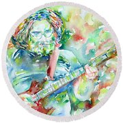 Jerry Garcia Playing The Guitar Watercolor Portrait.3 Round Beach Towel by Fabrizio Cassetta