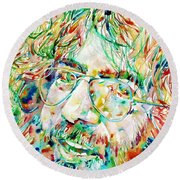 Jerry Garcia Watercolor Portrait.1 Round Beach Towel by Fabrizio Cassetta