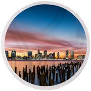 Jersey City Skyline At Sunset Round Beach Towel