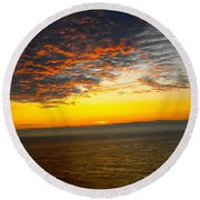 Jersey Morning Sky Round Beach Towel