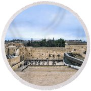 Jerusalem The Western Wall Round Beach Towel by Ron Shoshani