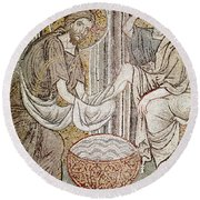 Jesus And Saint Peter, Detail From Jesus Washing The Feet Of The Apostle Mosaic Round Beach Towel