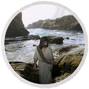Jesus Christ- In The Company Of Angels Round Beach Towel