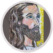 Jesus Christ Round Beach Towel by Kathy Marrs Chandler