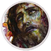 Round Beach Towel featuring the painting Jesus Christ by Laur Iduc