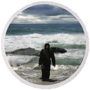 Jesus Christ- Look I Am Coming Soon Round Beach Towel