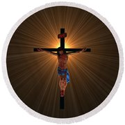 Jesus Christ Round Beach Towel by Michael Rucker