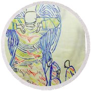 Jesus Guardian Angel Round Beach Towel