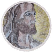 Jesus Round Beach Towel by Kathy Marrs Chandler