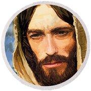 Jesus Of Nazareth Portrait Round Beach Towel