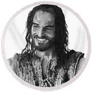 Jesus Smiling Round Beach Towel