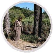 Jesus- Walk With Me Round Beach Towel
