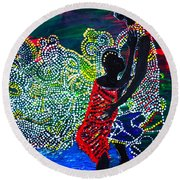 Round Beach Towel featuring the painting Jesus Walking On Water by Gloria Ssali