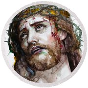 The Suffering God Round Beach Towel by Laur Iduc