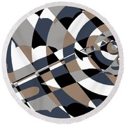 Jet In The Clouds Round Beach Towel