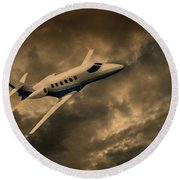 Jet Through The Clouds Round Beach Towel