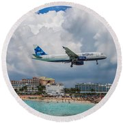 jetBlue in St. Maarten Round Beach Towel