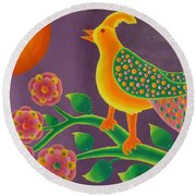 Jewel Bird Round Beach Towel