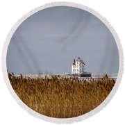 jewel of the Port Lorain Lighthouse Round Beach Towel