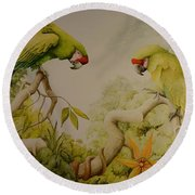 Jewels Of The Rain Forest  Military Macaws Round Beach Towel
