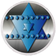 Round Beach Towel featuring the digital art Jewish Stars by Marvin Blaine