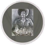 Round Beach Towel featuring the drawing Jezebel by Gabrielle Wilson-Sealy