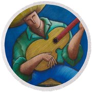 Round Beach Towel featuring the painting Jibaro Bajo La Luna by Oscar Ortiz