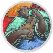 Round Beach Towel featuring the painting Jibaro Encendi'o by Oscar Ortiz