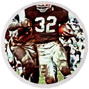 Jim Brown Round Beach Towel